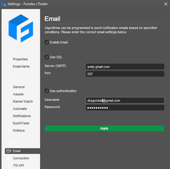 cTrader email setup