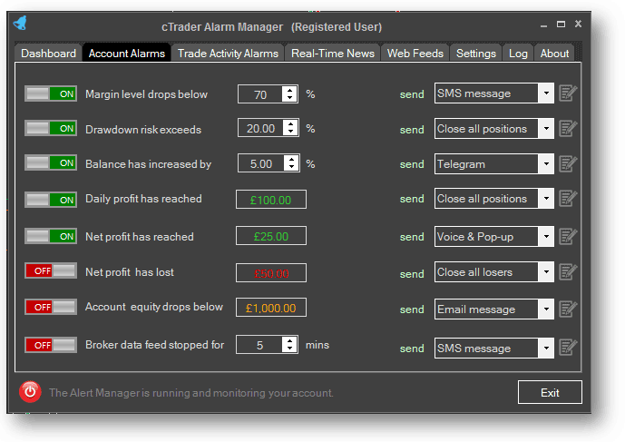 cTrader Alarm Manager Account