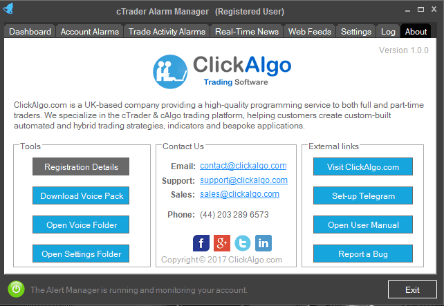 cTrader Alarm Manager Credits