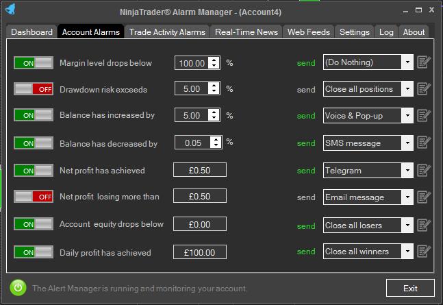 Ninjatrader® 8 Alarm Manager Dashboard