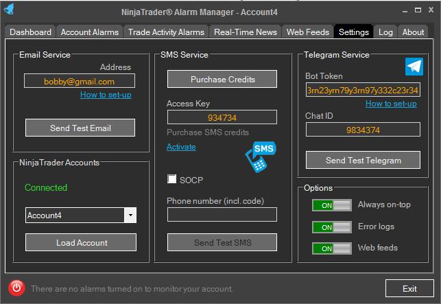 NinjaTrader Alarm Manager Settings
