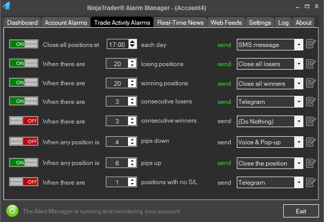 NinjaTrader Trade Activity Alerts