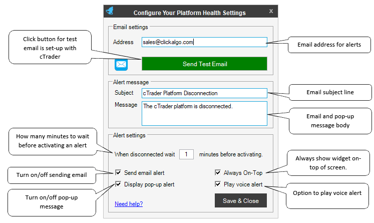 ctrader health settings explained