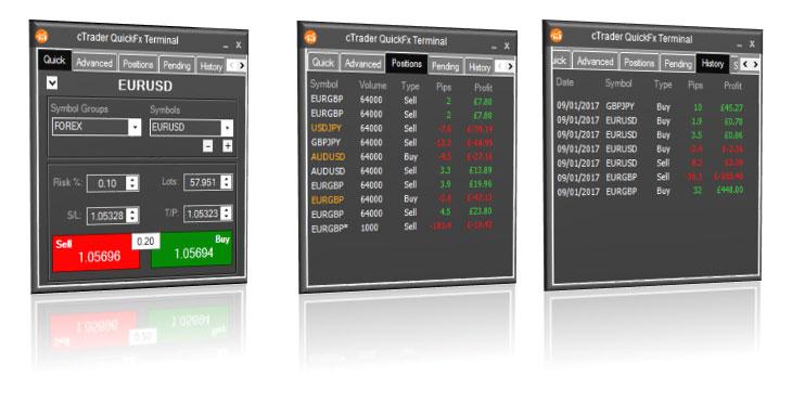 cTrader QuickFx Trading Widgets