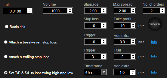 cTrader One Click Risk Settings