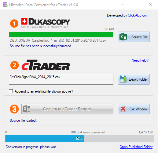 cTrader Historical Data Converter