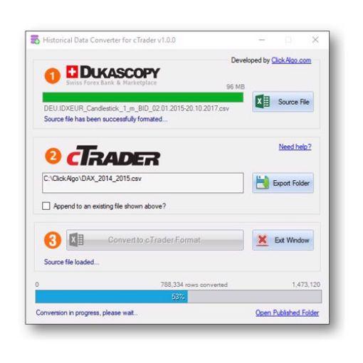 cTrader Historical Market Data Converter