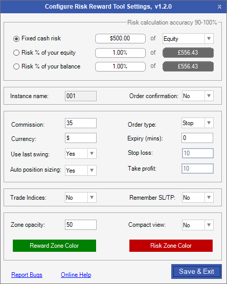 cTrader Risk & Reward Settings Panel