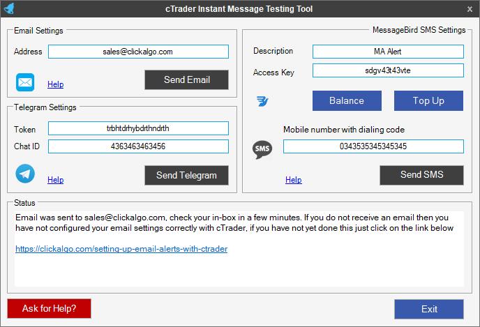 ctrader sms text setup tool